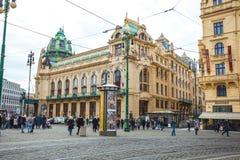25 01 2018年布拉格,捷克-对街道的看法在老 库存照片