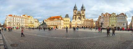 25 01 2018年布拉格,捷克-老镇中心全景  免版税图库摄影