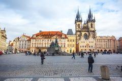 25 01 2018年布拉格,捷克-老镇中心和教会o 免版税库存图片