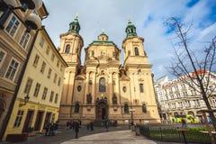 25 01 2018年布拉格,捷克Respublic -老的圣尼古拉什教会 免版税库存图片