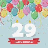 29年庆祝 愉快生日贺卡的问候 库存例证