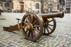 22 01 2018年德累斯顿,德国- 17世纪的古老大炮 免版税库存照片