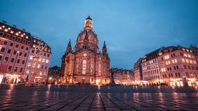 23 01 2018年德累斯顿,德国-我们的夫人Neumarkt广场和Frauenkirche教会在Dre 免版税库存图片