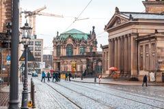 22 01 2018年德累斯顿,德国- Zwinger宫殿建筑师Matthaus 免版税库存照片