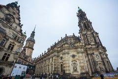 22 01 2018年德累斯顿;圣洁Trin的德国-德累斯顿大教堂 免版税库存图片