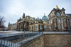 22 01 2018年德累斯顿;德国- Dres建筑学和风景  免版税库存图片