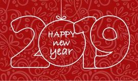 2018年您的季节性飞行物和贺卡或者圣诞节主题的邀请的新年快乐背景 向量例证