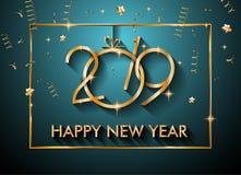 2019年您的季节性飞行物和Gree的新年快乐背景 免版税库存图片