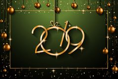 2019年您的季节性飞行物和Gree的新年快乐背景 库存例证