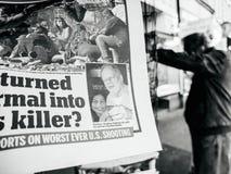 2017年拉斯韦加斯大道射击凶手斯蒂芬报纸照片  免版税库存照片