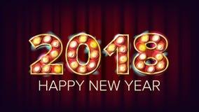 2018年新年快乐传染媒介 背景装饰 贺卡设计 2018轻的标志 假日减速火箭的亮光电灯泡 向量例证