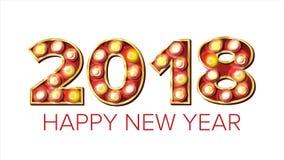 2018年新年快乐传染媒介 背景装饰 贺卡设计 2018轻的标志 假日减速火箭的亮光电灯泡 库存照片