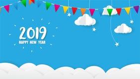 2019年新年快乐卡片设计 免版税库存图片
