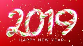 2019年新年快乐背景传染媒介 第2019年 圣诞节现实标志 经典Xmas红颜色 3d棒棒糖 免版税库存照片