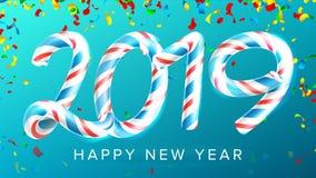 2019年新年快乐背景传染媒介 第2019年 圣诞节颜色 蓝色 经典Xmas 3D棒棒糖 新年度 免版税库存图片