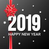 2019年新年快乐背景传染媒介 第2019年 弓 假日新年庆祝横幅,卡片 黑暗的例证 免版税库存图片