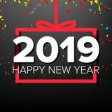 2019年新年快乐背景传染媒介 第2019年 弓 横幅,礼物 黑暗的例证 免版税库存图片