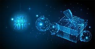 2019年新年快乐背景 传染媒介与礼物盒和圣诞节球的问候横幅 新年2019 3d例证 向量例证