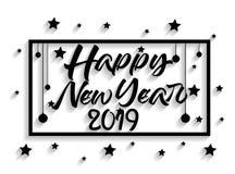 2019年新年快乐贺卡 使用向量的设计好的零件stiker模板您 免版税库存图片