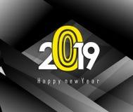 2019年新年快乐贺卡 使用向量的设计好的零件stiker模板您 免版税图库摄影