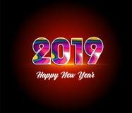 2019年新年快乐贺卡 使用向量的设计好的零件stiker模板您 库存照片