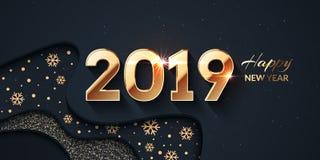 2019年新年快乐黑暗和金背景 库存例证