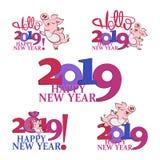 2019年新年快乐 逗人喜爱的猪 猪的农历新年 库存例证