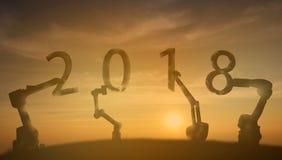 2018年机器人学胳膊提起与日出的2018新年数字 库存照片