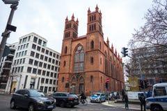 25 01 2018年柏林,德国-新哥特式Friedrichswerder教会 免版税库存照片