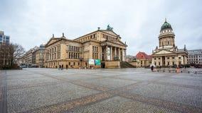 25 01 2018年柏林,德国-著名Gendarmenm全景  免版税库存图片