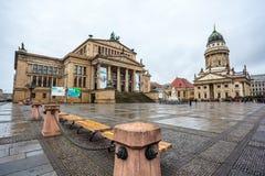 25 01 2018年柏林,德国-著名Gendarmenm全景  免版税图库摄影