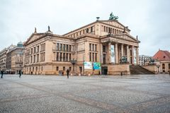 25 01 2018年柏林,德国-音乐厅在Gendarmenmarkt一 免版税图库摄影