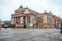 25 01 2018年柏林,德国-音乐厅在Gendarmenmarkt一 库存图片