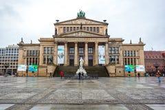 25 01 2018年柏林,德国-音乐厅在Gendarmenmarkt一 免版税库存照片
