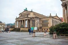 25 01 2018年柏林,德国-音乐厅在Gendarmenmarkt一 库存照片