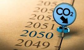 2050年气候计划,减少二氧化碳脚印 免版税库存照片