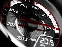 2019年汽车车速表 读秒概念 库存例证