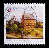 1250年洛尔施修道院,联合国科教文组织世界遗产名录周年选址serie,大约2014年 免版税库存照片