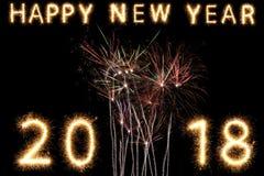 2018年烟花闪烁发光物明亮的发光的新年 免版税库存照片