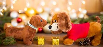 2018年狗,圣诞节装饰,横幅 库存图片