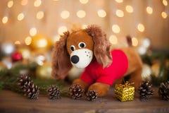 2018年狗,圣诞节装饰 免版税库存照片