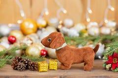 2018年狗,圣诞节装饰 库存图片