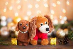 2018年狗,圣诞节装饰 免版税库存图片