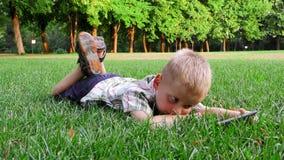 6年的孩子在与小配件的一棵草放置 股票视频