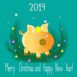 年的标志2019年-一头黄色猪 向量例证