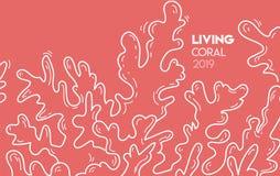 2019年纹理横幅的居住的珊瑚颜色 向量例证