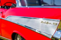 1957年薛佛列贝莱尔小轿车 免版税库存照片