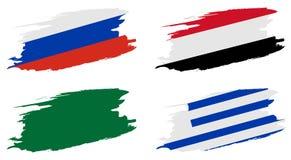 2018年足球世界冠军 设置小组A -俄罗斯,埃及,沙特阿拉伯,乌拉圭旗子  库存图片