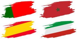 2018年足球世界冠军 设置小组B -葡萄牙,西班牙,摩洛哥,伊朗旗子  免版税库存照片