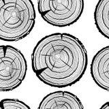 年轮无缝的样式 锯裁减树干背景 库存例证